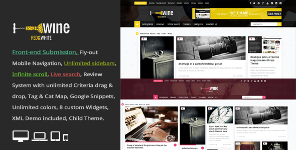 Wine Masonry Preview Wordpress Theme - Rating, Reviews, Preview, Demo & Download