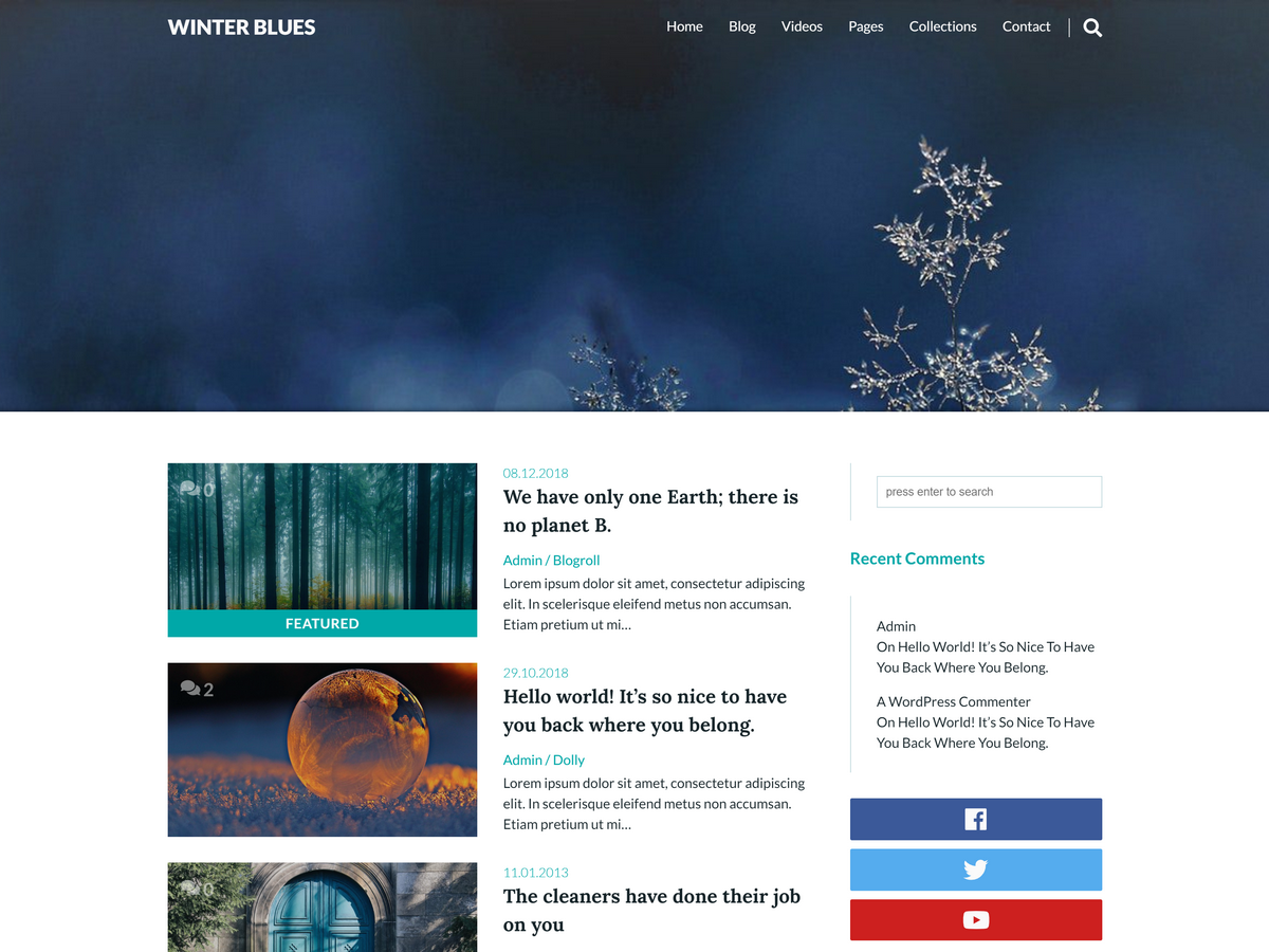 Winter Blues Preview Wordpress Theme - Rating, Reviews, Preview, Demo & Download