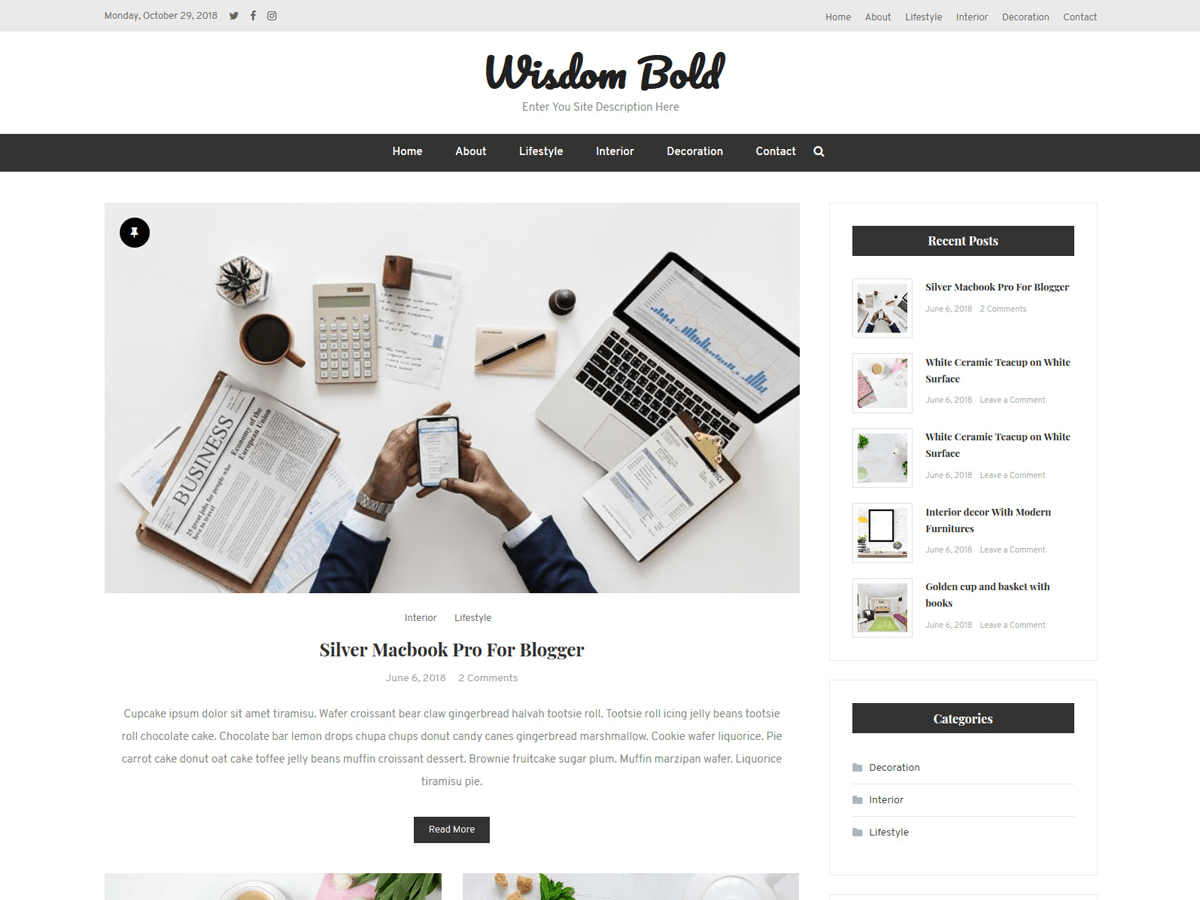Wisdom Bold Preview Wordpress Theme - Rating, Reviews, Preview, Demo & Download