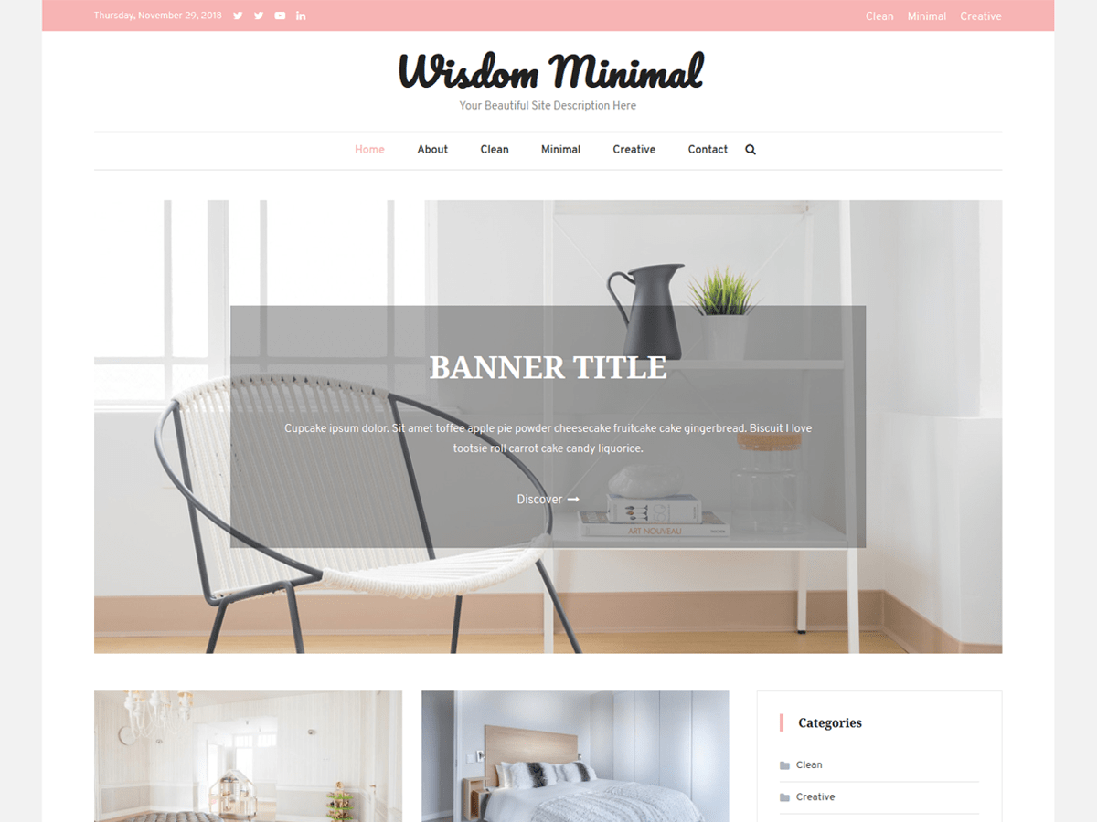 Wisdom Minimal Preview Wordpress Theme - Rating, Reviews, Preview, Demo & Download