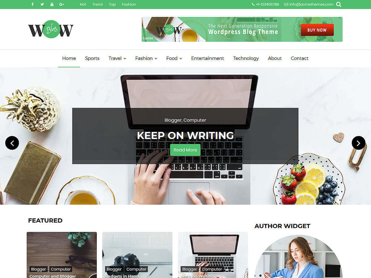 WOW Blog Preview Wordpress Theme - Rating, Reviews, Preview, Demo & Download