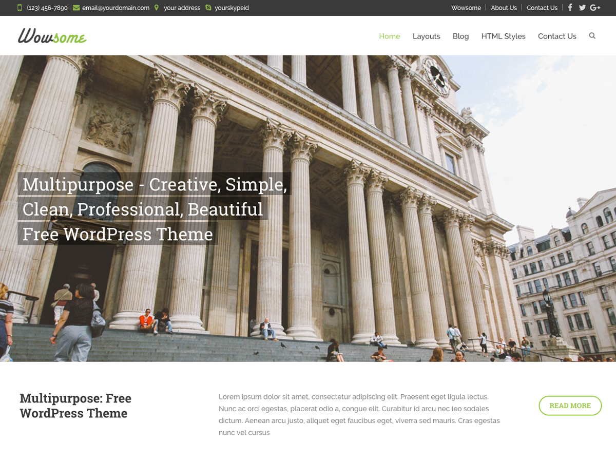 Wowsome Preview Wordpress Theme - Rating, Reviews, Preview, Demo & Download