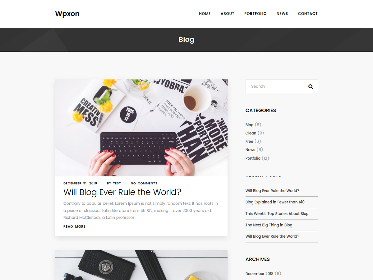 Wpxon Blog Preview Wordpress Theme - Rating, Reviews, Preview, Demo & Download