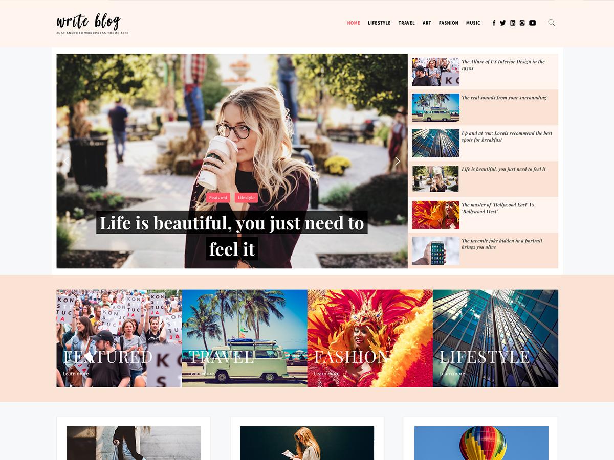 Write Blog Preview Wordpress Theme - Rating, Reviews, Preview, Demo & Download