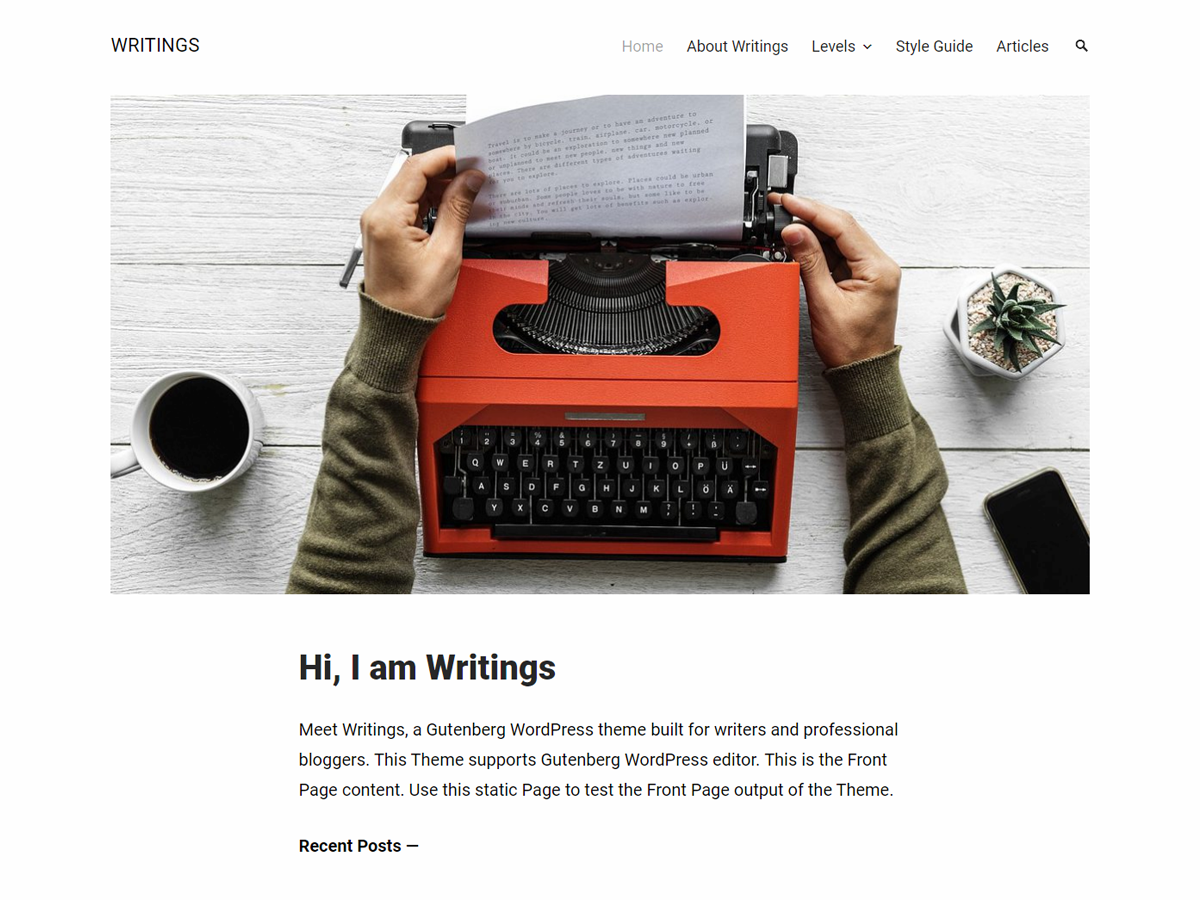 Writings Preview Wordpress Theme - Rating, Reviews, Preview, Demo & Download