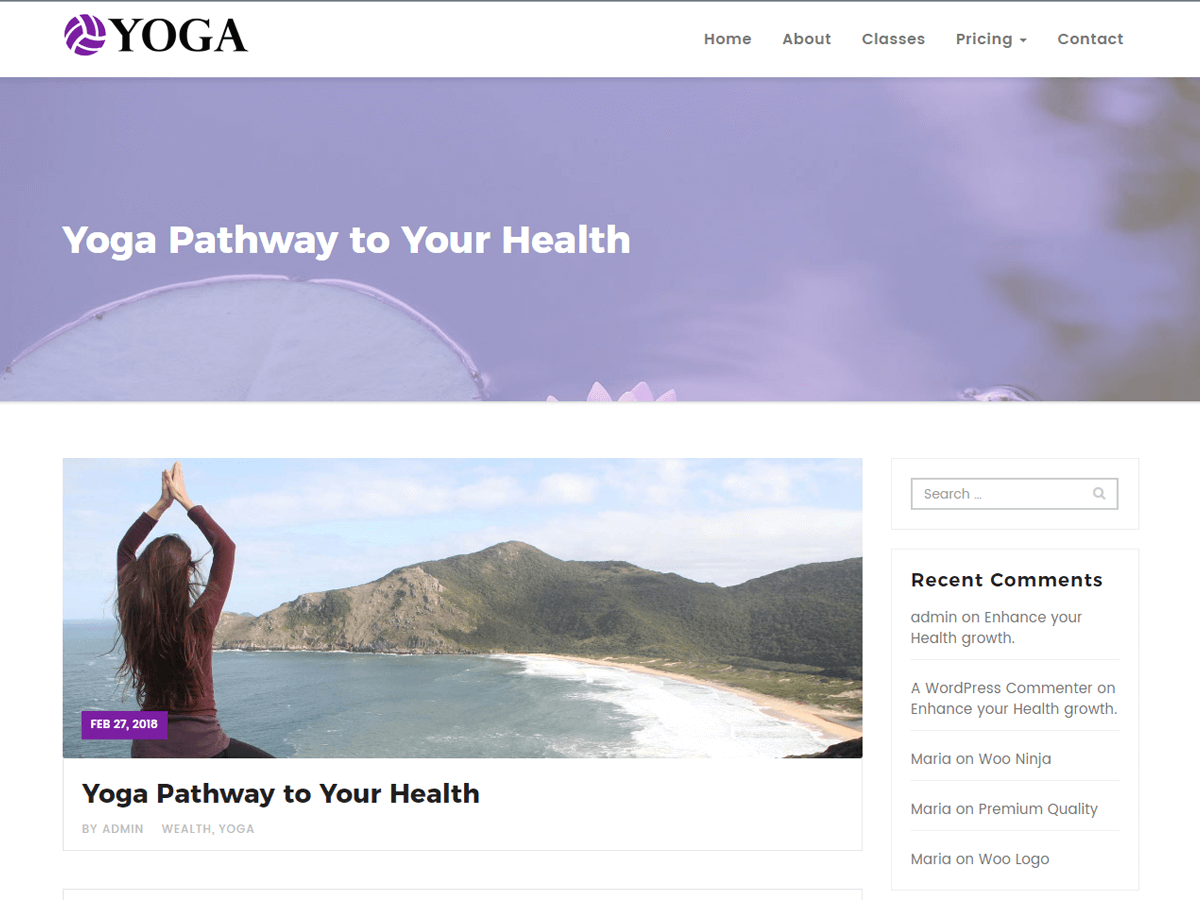Yoga Preview Wordpress Theme - Rating, Reviews, Preview, Demo & Download