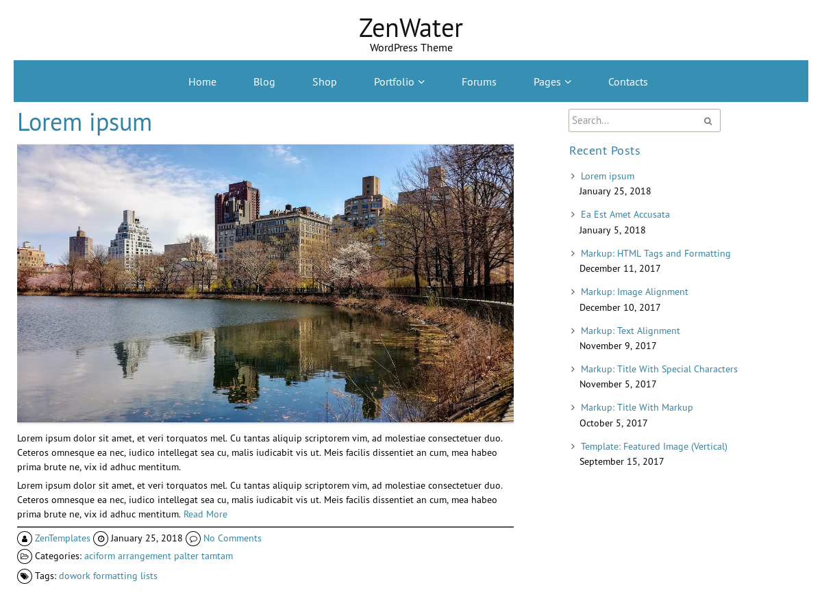 ZenWater Preview Wordpress Theme - Rating, Reviews, Preview, Demo & Download