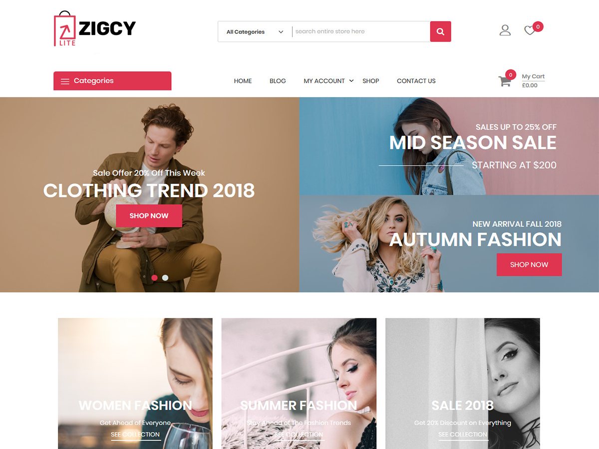 Zigcy Lite Preview Wordpress Theme - Rating, Reviews, Preview, Demo & Download