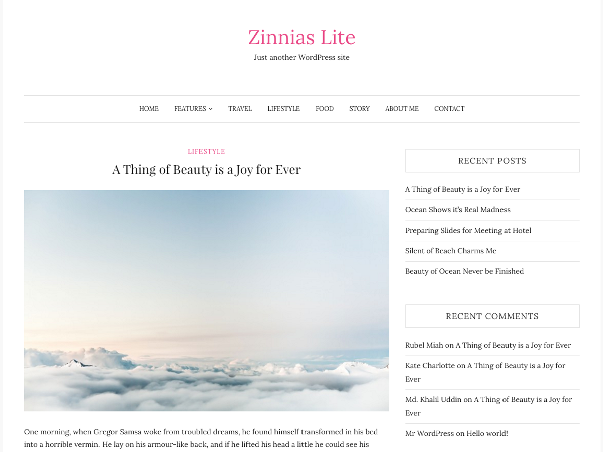 Zinnias Lite Preview Wordpress Theme - Rating, Reviews, Preview, Demo & Download