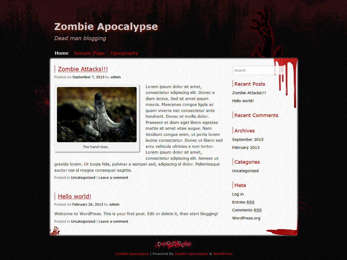 Zombie Apocalypse Preview Wordpress Theme - Rating, Reviews, Preview, Demo & Download